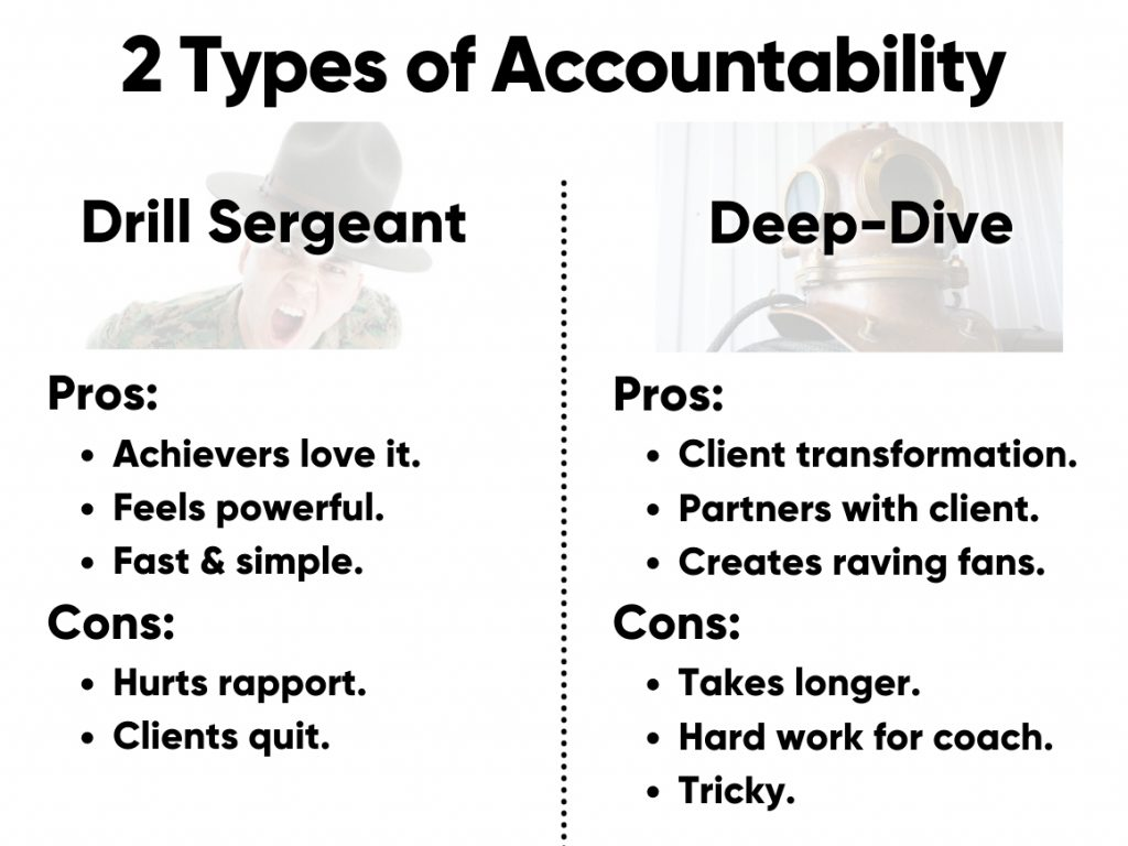 There are 2 types (styles) of accountability coaching.