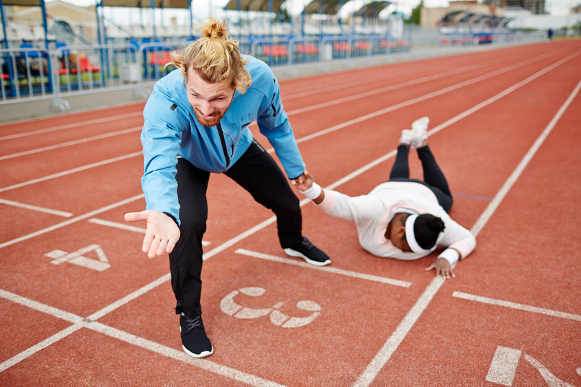 stumble during a sprint and lose